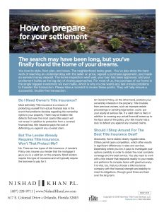 How to Prepare for your settlement